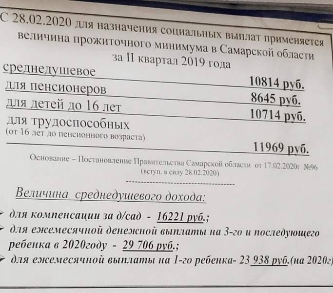 Размер прожиточного минимума в Самаре на май 2020 года