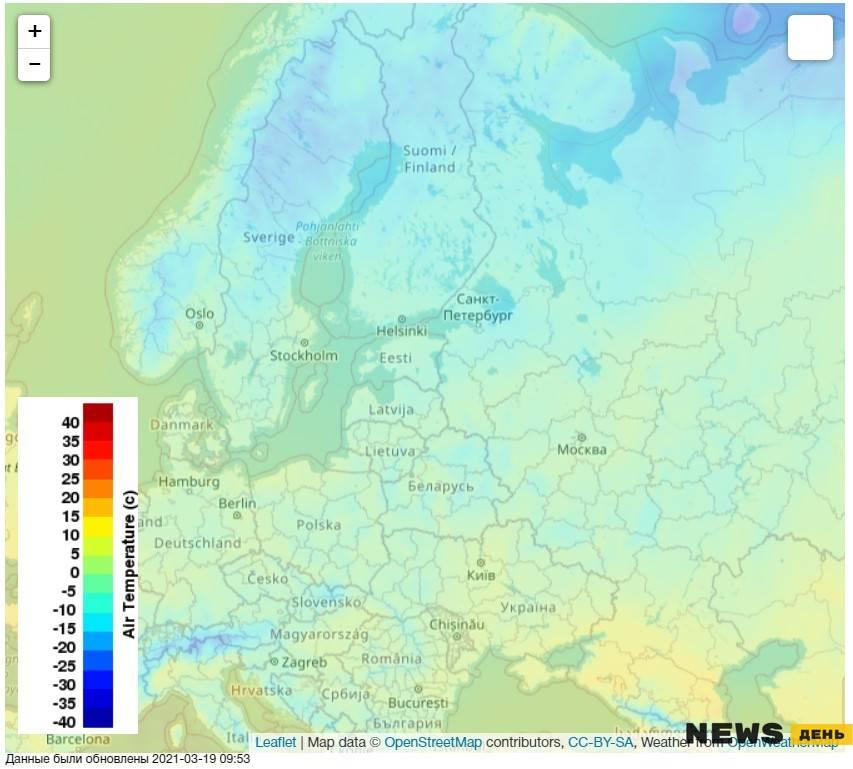 Морозы в марте в России