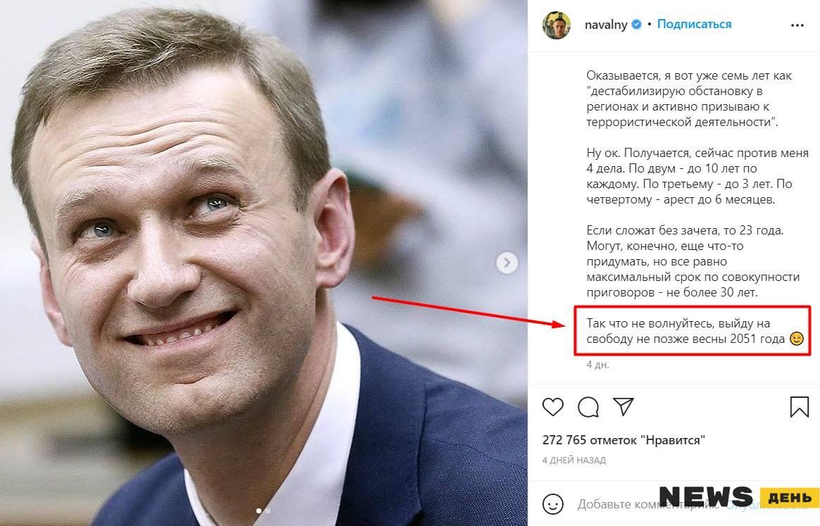 Когда Алексей Навальный выйдет на свободу — дата